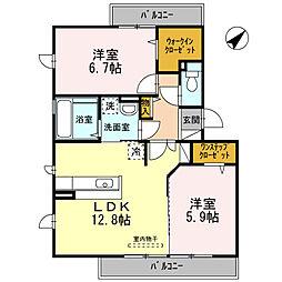 大阪府堺市北区百舌鳥梅北町5丁の賃貸アパートの間取り