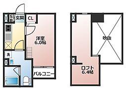大阪府大阪市生野区林寺4の賃貸アパートの間取り