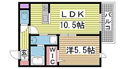 レフィーノ六甲 1階1LDKの間取り
