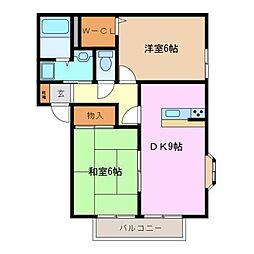 Heights Ju,eiyu II A[2階]の間取り