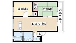 愛知県名古屋市緑区滝ノ水5丁目の賃貸アパートの間取り