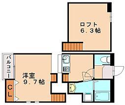patina筥松II 2階1SKの間取り