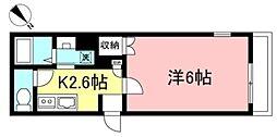 京王線 府中駅 徒歩13分の賃貸マンション 2階1Kの間取り
