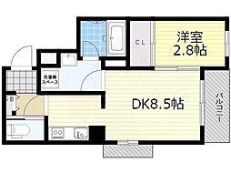 阪急京都本線 高槻市駅 徒歩18分の賃貸マンション 2階1DKの間取り