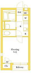 JR京浜東北・根岸線 本郷台駅 徒歩20分の賃貸アパート 2階1Kの間取り
