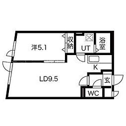 北海道札幌市中央区南六条西23丁目の賃貸マンションの間取り
