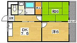 第五金森マンション 4階2LDKの間取り