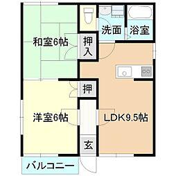 メゾン松ヶ丘K[1階]の間取り