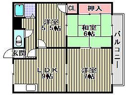 モアクレスト花田公園A棟[301号室]の間取り