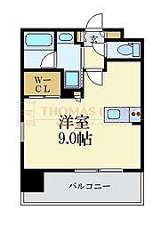 LANDIC 美野島3丁目 2階ワンルームの間取り