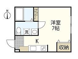 バス 吉島2丁目下車 徒歩5分の賃貸アパート 1階ワンルームの間取り