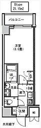 都営大江戸線 両国駅 徒歩6分の賃貸マンション 6階1Kの間取り