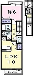 兵庫県姫路市田寺1丁目の賃貸アパートの間取り