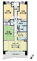 ライオンズマンション千葉グランドタワー[20階]の間取り