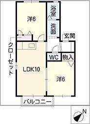 メゾン花水木B棟[2階]の間取り