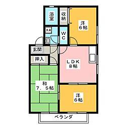 カーサ・ロブレB棟[2階]の間取り