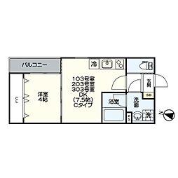 名古屋市営名港線 日比野駅 徒歩6分の賃貸アパート 3階1DKの間取り