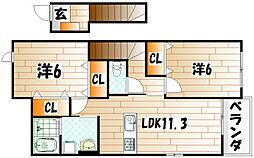 プリムローズF II[2階]の間取り