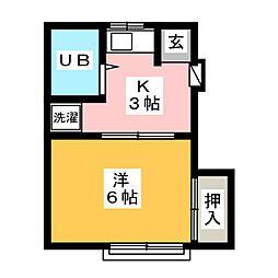 コーポ駅南[2階]の間取り