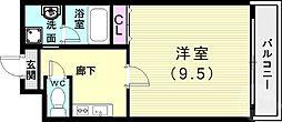 ラ・メゾンクレール弐番館 5階1Kの間取り