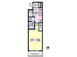 JR中央線 東小金井駅 徒歩12分の賃貸アパート 2階1Kの間取り