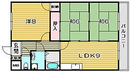 大阪府高槻市郡家新町の賃貸マンションの間取り