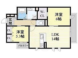 (仮称)東淀川区森岡ハイツ 2階2LDKの間取り