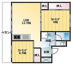 スカイクレスト名川 3階2LDKの間取り