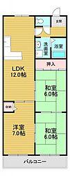クレインストリート松本 4階3LDKの間取り