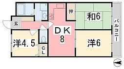 兵庫県姫路市大野町の賃貸マンションの間取り