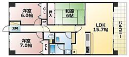 サンシティ神戸北町1番館[7階]の間取り