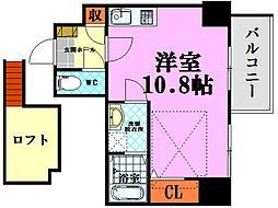 katayama BLDG 26 8階ワンルームの間取り