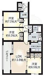 大阪モノレール本線 少路駅 徒歩9分の賃貸マンション 2階3LDKの間取り