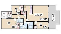 兵庫県神戸市灘区赤松町2丁目の賃貸マンションの間取り