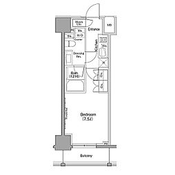 JR山手線 巣鴨駅 徒歩8分の賃貸マンション 12階ワンルームの間取り