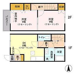 JR埼京線 与野本町駅 徒歩19分の賃貸アパート 2階2DKの間取り