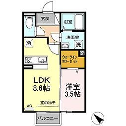 (仮)D-room西本町 B棟[203号室]の間取り