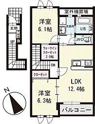 アヴニール丸山 2階[202号室]の間取り