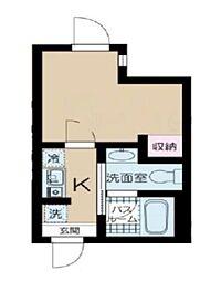 東京メトロ丸ノ内線 中野坂上駅 徒歩5分の賃貸マンション 2階1Kの間取り