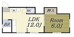 松田ビル 2階1LDKの間取り