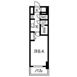 名古屋市営鶴舞線 浅間町駅 徒歩5分の賃貸マンション 15階1Kの間取り