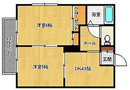ディアス笹山[1階]の間取り