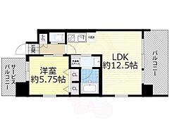 阪急宝塚本線 豊中駅 徒歩4分の賃貸マンション 6階1LDKの間取り