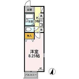 東京都多摩市山王下1丁目の賃貸アパートの間取り