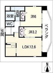 アランヴェール覚王山[8階]の間取り
