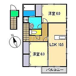 ボヌールK C棟[2階]の間取り