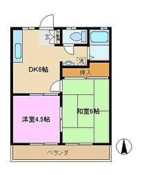 神奈川県横浜市戸塚区秋葉町の賃貸アパートの間取り