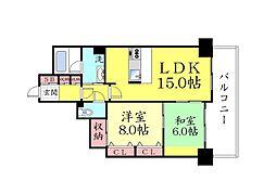 ライオンズマンション六甲[203号室]の間取り