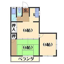 六斎ハイツ[3A号室]の間取り