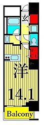 東京メトロ日比谷線 南千住駅 徒歩5分の賃貸マンション 12階ワンルームの間取り